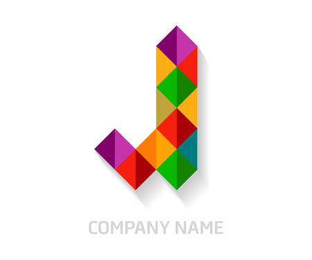 J letter colorful logo design. Template elements for your application or company identity.