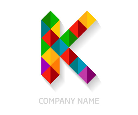 K letter colorful logo design. Template elements for your application or company identity.
