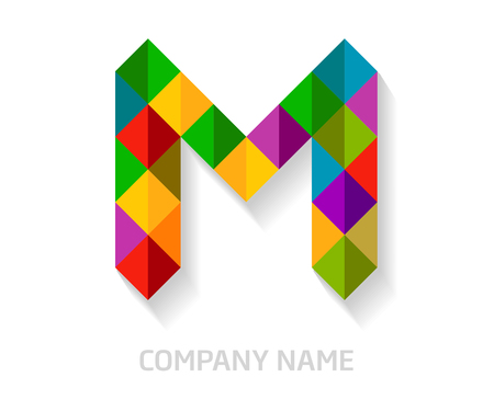 M letter colorful logo design. Template elements for your application or company identity.