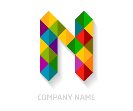 N letter colorful logo design. Template elements for your application or company identity.