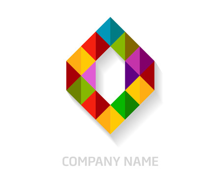O letter colorful logo design. Template elements for your application or company identity. Illustration