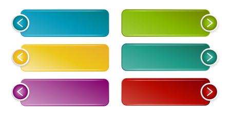 Colorful button set. User interface web button with arrows. Illustration