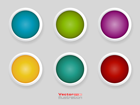 Set of blank round buttons for website or app.
