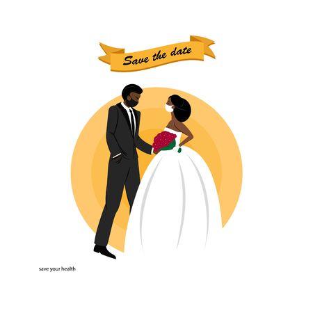 Dark Skin Couple wedding in medical masks. Happy wedding dark skincouple in love. Coronavirus is not a reason to refuse a wedding. Vettoriali