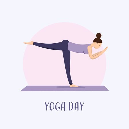 The girl does yoga at home. Yoga day. A girl stands on one leg on a purple yoga Mat.
