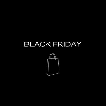 A minimalistic black Friday poster featuring a shopping bag
