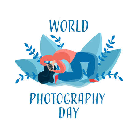 illustration of World Photography Day 19 August. A photographer standing in a difficult pose with a camera.