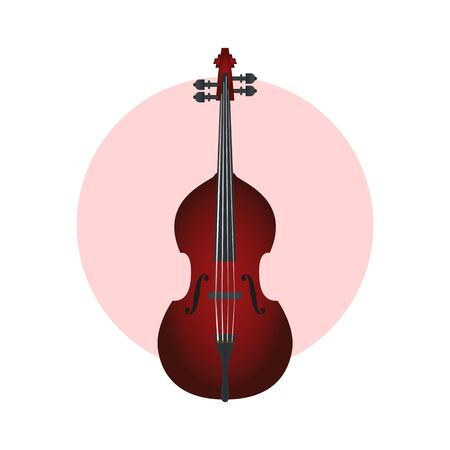 Stylish vector red double bass on a yellow circle background. Red double bass. Stock Illustratie