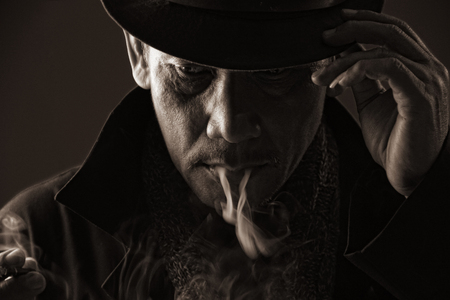 assassin: Cold blooded assassin adjusting his hat with cigarette smoke came out of his mouth, in sephia color style