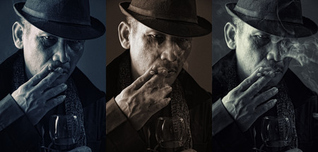 mafia: 3 vintage style portraits of an old mafia boss smoking cigarette with cold expression Stock Photo