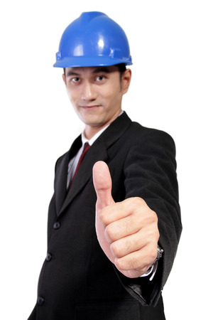 asian architect: Young Asian architect in formal wear giving thumb up, isolated on white background