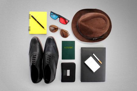 overhead shot: Overhead shot of hipster traveler essentials, over grey background