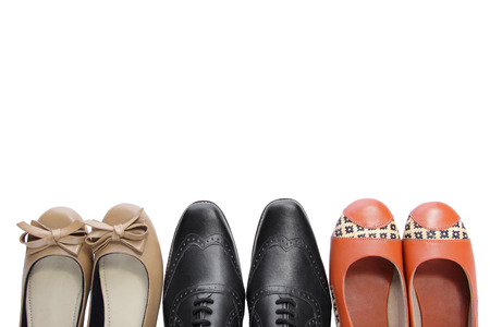 overhead shot: Overhead shot of three pairs of shoes, isolated on white background for copy space Stock Photo
