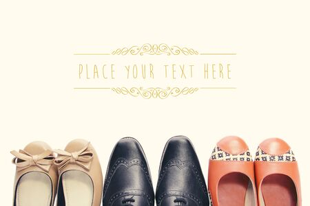 Overhead shot of three pairs of shoes tips in vintage style with copy space