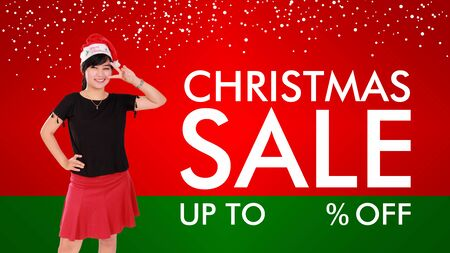 green clothes: Christmas Sale fun and stylish background design with copy space for price cut percentage Stock Photo