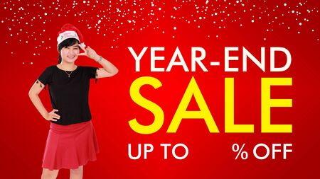 price cut: Year-End Sale fun and stylish background design with copy space for price cut percentage Stock Photo