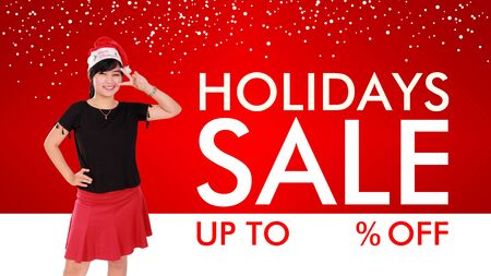 price cut: Holidays Sale fun and stylish background design with copy space for price cut percentage Stock Photo
