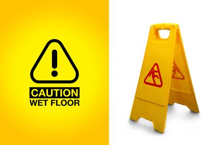 wet floor sign: Wet floor sign isolated on white background, with the precaution alert graphic Stock Photo