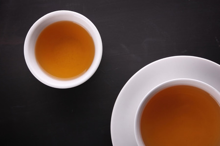 Conceptual image composition of two tea cups from above