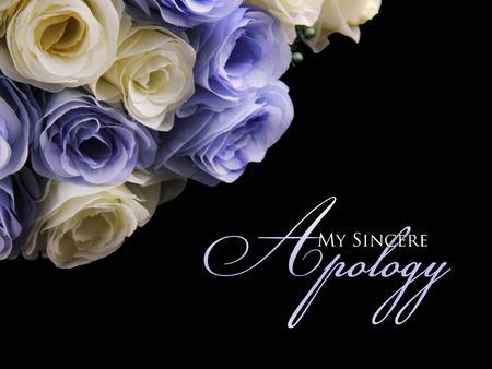 私の誠実な謝罪。左、黒背景の上に白と紫のバラのイメージと率直な謝罪カード デザイン