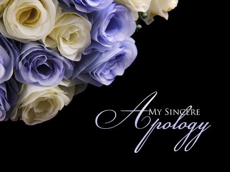 pardon: My Sincere Apology. Graceful apology card design with image of white and purple roses on top left, over black background Stock Photo