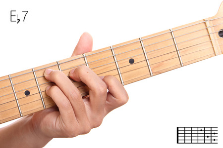 e guitar: Eb7 - dominant 7th keys guitar tutorial series. Closeup of hand playing E flat dominant seventh chord on guitar, isolated on white background Stock Photo