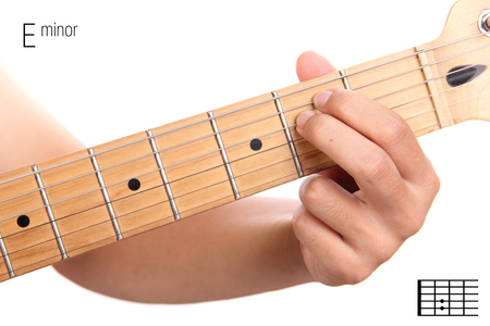 e guitar: Em - basic minor keys guitar tutorial series. Closeup of hand playing E minor chord on guitar, isolated on white background