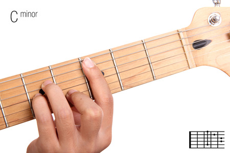 chord: Cm - basic minor keys guitar tutorial series. Closeup of hand playing C minor chord on guitar, isolated on white background