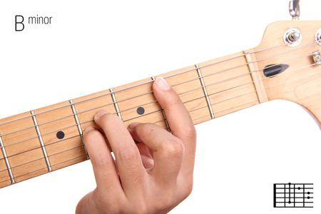 minor: Bm - basic minor keys guitar tutorial series. Closeup of hand playing B minor chord on guitar, isolated on white background