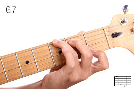 seventh: G7 - dominant 7th keys guitar tutorial series. Closeup of hand playing G dominant seventh chord on guitar, isolated on white background