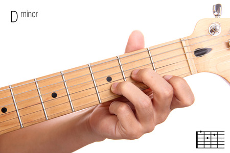 chord: Dm - basic minor keys guitar tutorial series. Closeup of hand playing D minor chord on guitar, isolated on white background Stock Photo