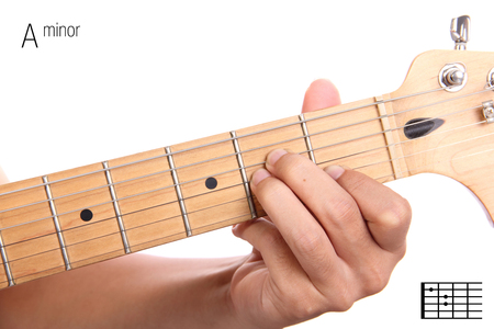 chord: Am - basic minor keys guitar tutorial series. Closeup of hand playing A minor chord on guitar, isolated on white background Stock Photo