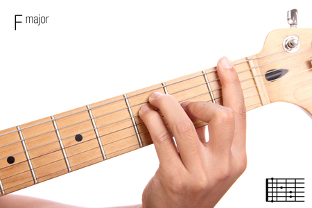chord: F - basic major keys guitar tutorial series. Closeup of hand playing F major chord on guitar, isolated on white background