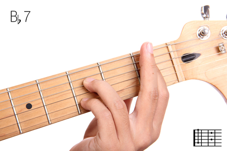 chord: Bb7 - dominant 7th keys guitar tutorial series. Closeup of hand playing B flat dominant seventh chord on guitar, isolated on white background Stock Photo