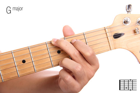 G - touches principales séries de base de didacticiel de guitare. Gros plan du jeu G accord majeur à la guitare la main, isolé sur fond blanc