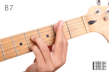 seventh: B7 - dominant 7th keys guitar tutorial series. Closeup of hand playing B flat dominant seventh chord on guitar, isolated on white background Stock Photo