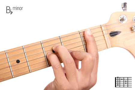 bbm: Bbm - basic minor keys guitar tutorial series. Closeup of hand playing B flat minor chord on guitar, isolated on white background