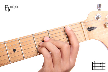 bb: Bb - basic major keys guitar tutorial series. Closeup of hand playing B flat major chord on guitar, isolated on white background