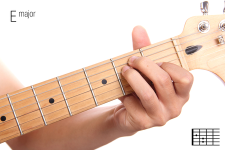 chord: E - basic major keys guitar tutorial series. Closeup of hand playing E major chord on guitar, isolated on white background Stock Photo