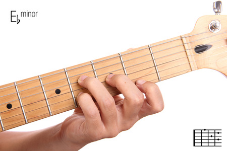 e guitar: Ebm - basic minor keys guitar tutorial series. Closeup of hand playing E flat minor chord on guitar, isolated on white background Stock Photo