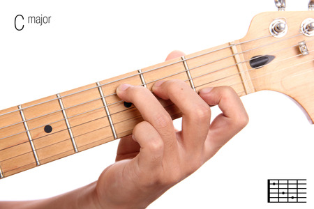 C - clés principales séries de base de didacticiel de guitare. Gros plan de la main en jouant C accord majeur à la guitare, isolé sur fond blanc Banque d'images