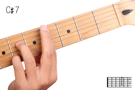 seventh: C#7 - dominant 7th keys guitar tutorial series. Closeup of hand playing C sharp dominant seventh chord on guitar, isolated on white background