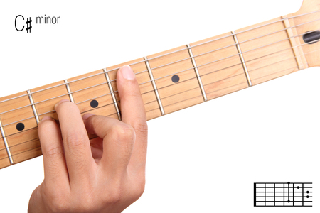 chord: C#m - basic minor keys guitar tutorial series. Closeup of hand playing C sharp minor chord on guitar, isolated on white background