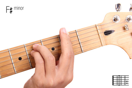 chord: F#m - basic minor keys guitar tutorial series. Closeup of hand playing F sharp minor chord on guitar, isolated on white background