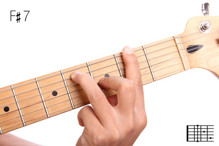 chord: F#7 - dominant 7th keys guitar tutorial series. Closeup of hand playing F sharp dominant seventh chord on guitar, isolated on white background