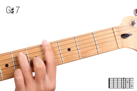 g string: G#7 - dominant 7th keys guitar tutorial series. Closeup of hand playing G sharp dominant seventh chord on guitar, isolated on white background