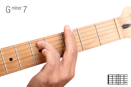 seventh: Gm7 - minor seventh keys guitar tutorial series. Closeup of hand playing G minor seventh chord on guitar, isolated on white background Stock Photo