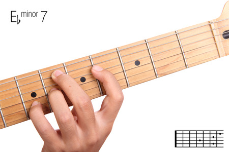seventh: Ebm7 - minor seventh keys guitar tutorial series. Closeup of hand playing E flat minor seventh chord on guitar, isolated on white background