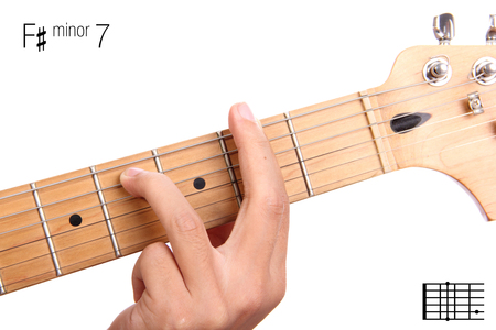 learning series: F#m7 - minor seventh keys guitar tutorial series. Closeup of hand playing F sharp minor seventh chord on guitar, isolated on white background Stock Photo