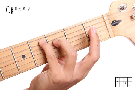chord: C#Maj7 - major seventh keys guitar tutorial series. Closeup of hand playing C sharp major seventh chord on guitar, isolated on white background Stock Photo